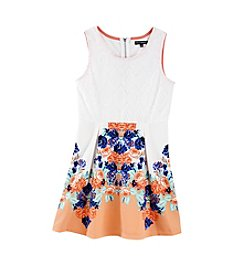 Sequin Hearts® Girls' 7-16 Multi Border Print Dress