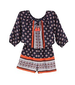 Sequin Hearts® Girls' 7-16 Border Print Romper