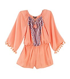 Sequin Hearts® Girls' 7-16 Tassle Trim Romper