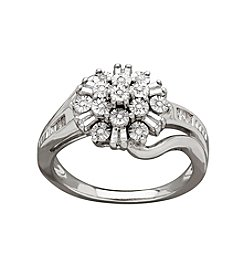 Sterling Silver 0.10 Ct. T.W. Diamond Flower Ring