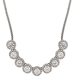 Balentino® Sterling Silver Polished Cubic Zirconia Halo Links Necklace