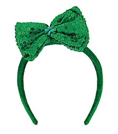 St. Patrick's Day Green Sequin Bow Adult Headband