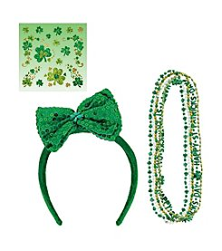 St. Patrick's Day Necklaces, Shamrock Body Jewelry & Bow Tie Headband Accessory Bundle