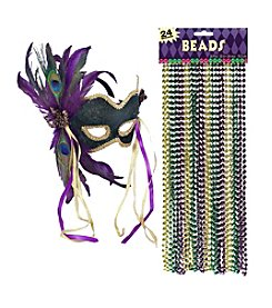 Mardi Gras Mask & Beads Accessory Bundle