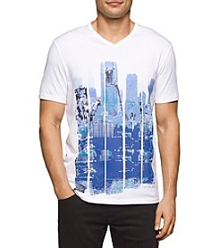 Calvin Klein Jeans Men's Cityscape Blocks V Neck Tee