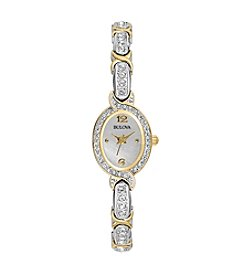 Bulova® Two Tone Crystal Bracelet Watch