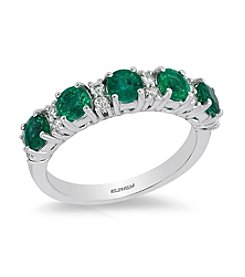 Effy® 14K White Gold Diamond And Natural Emerald Ring