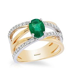 Effy® 14K White & Yellow Gold Diamond And Natural Emerald Ring