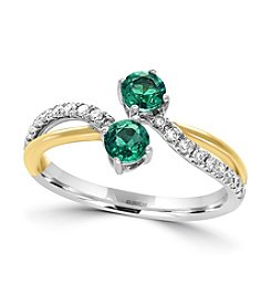 Effy® 14K White And Yellow Gold Diamond And Natural Emerald Ring