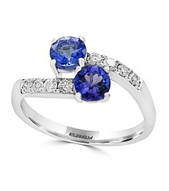 Effy® 14K White Gold Diamond And Tanzanite Ring