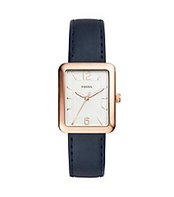 Fossil® Women's 28mm Atwater Rose Goldtone Watch With Navy Leather Strap