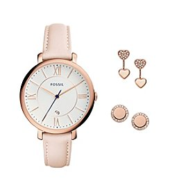 Fossil® Women's 36mm Jacqueline Watch and Jewelry Box Set