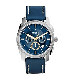 Fossil® Men's 45mm Machine Chronograph with Leather Strap