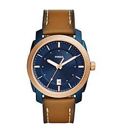 Fossil® Men's 42mm Machine Watch with Leather Strap