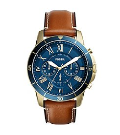 Fossil® Men's 44mm Grant Sport Chronograph Watch with Leather Strap