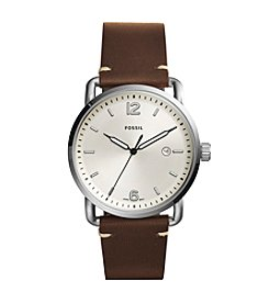 Fossil® Men's 42mm Silvertone Commuter Watch with Brown Leather Strap