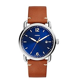 Fossil® Men's 42mm Navy Commuter Watch with Tan Leather Strap