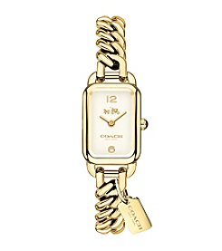 COACH WOMEN'S 24mm LUDLOW GOLDTONE SUNRAY DIAL CHAIN LINK BRACELET WATCH