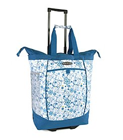 Pacific Coast® Blue Daisy Rolling Shopping Tote Bag
