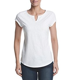 Ruff Hewn Split Neck Embroidered Tee