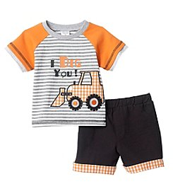Cuddle Bear® Baby Boys 2-Piece Plaid Dozer And Shorts Set