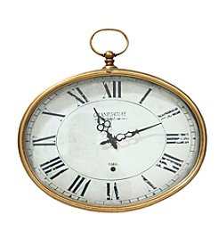 Stratton Home Decor Gold Oval Wall Clock