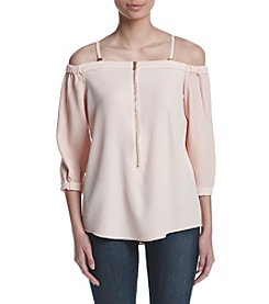 Calvin Klein Off Shoulder Zip Top