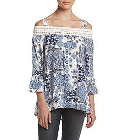 Oneworld® Cold Shoulder Printed Top