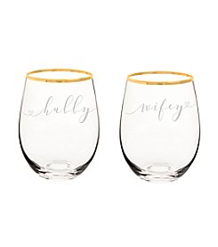 Cathy's Concepts Hubby & Wifey Gold Rim Stemless Wine Glasses
