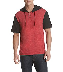 Distortion® Men's Short Sleeve  Hooded Henley With Contrast Fabric