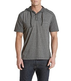 Distortion® Men's Short Sleeve Hooded Henley With Mini Stripes