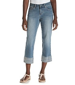 Earl Jean® Petites' Embroidered Hem Denim Capris