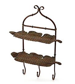 LivingQuarters Old Havana Metal Leaf Shelf With Hooks