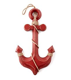 LivingQuarters Lake Red Anchor Wall Plaque