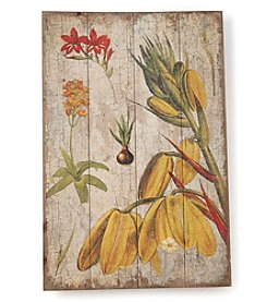 LivingQuarters Old Havana Floral Wood Plaque