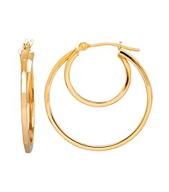 14K Yellow Gold Polished Square Tube Double Hoop Earrings