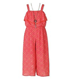 Speechless® Girls' 7-16 Print Jumper With Ruffle Layover