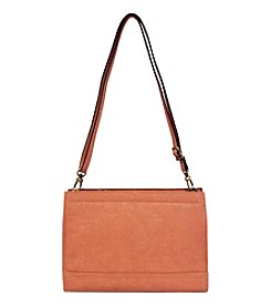 GAL Vegan Tan Front Top Zipper Small Crossbody