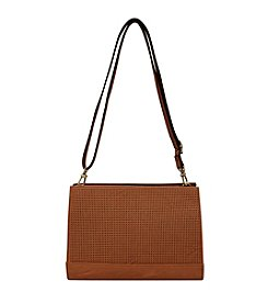 GAL Vegan Tan Perforated Top Zipper Small Crossbody