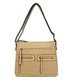 GAL Vegan Tan Perforated Multi Pocket Organizer Crossbody