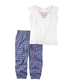 Carter's® Girls' 2T-8 Embroidered Top With Purple Printed Jogger Set