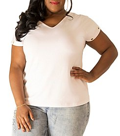 Poetic Justice® Plus Size Kira Short Sleeve Grommet T-Shirt
