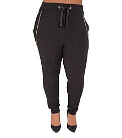 Poetic Justice® Plus Size Zoe Jogger Pants with Zipper Detail