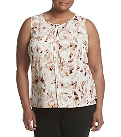 Calvin Klein Plus Size Printed Split Neck Blouse