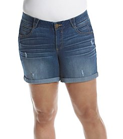 Democracy Plus Size Destructed Cuffed Shorts