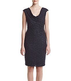 Connected® Glitter Pattern Draped Dress
