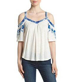 Eyeshadow® Embroidered Cold-Shoulder Top