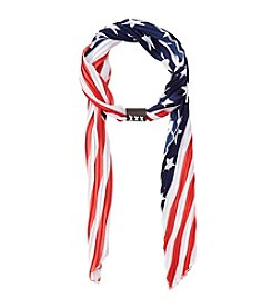Collection 18 Stars And Stripes Pleated Skinny Scarf