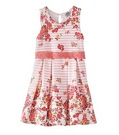 Beautees Girls' 4-6X Floral Popover Dress