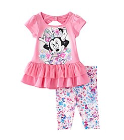Disney® Girls' 2T-6X Minnie Peplum Tunic With Butterfly Printed Leggings